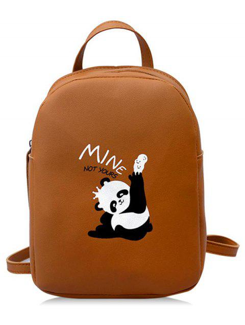 Cartoon Print Casual School Backpack - BROWN