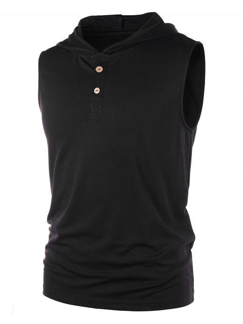 Hooded Henley Tank Top - BLACK L