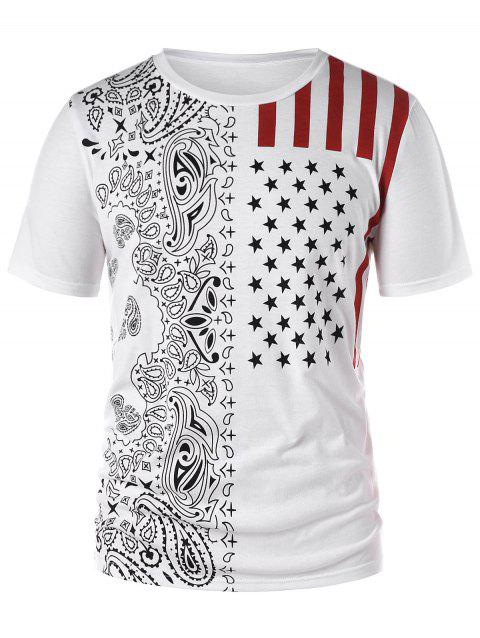 Limited Offer 2019 Tribal Print American Flag Tee In White 2xl