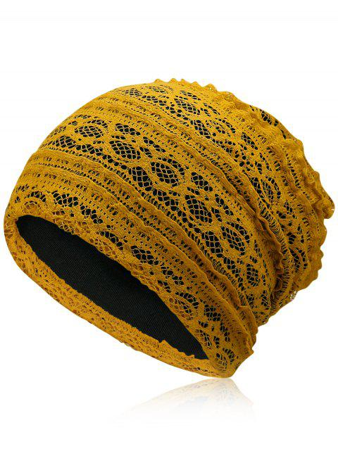 Outdoor Soft Lace Baggy Beanie - GOLDEN BROWN