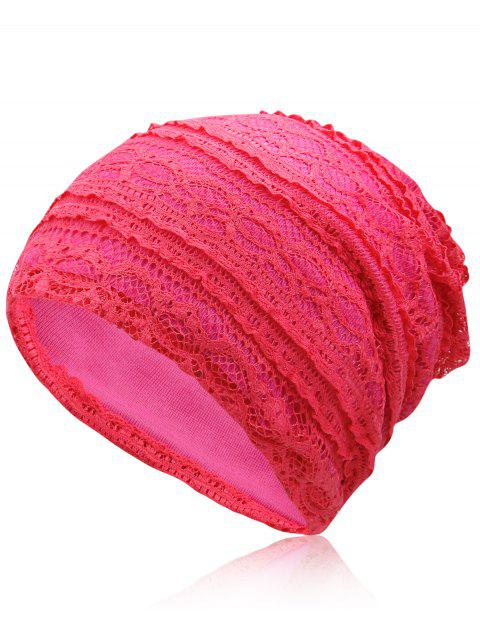 Outdoor Soft Lace Baggy Beanie - ROSE RED