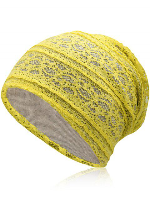 Outdoor Soft Lace Baggy Beanie - CORN YELLOW