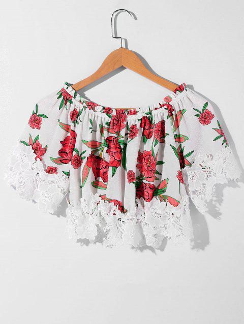 Flower Print Short Sleelve Crochet Crop Top - multicolor M