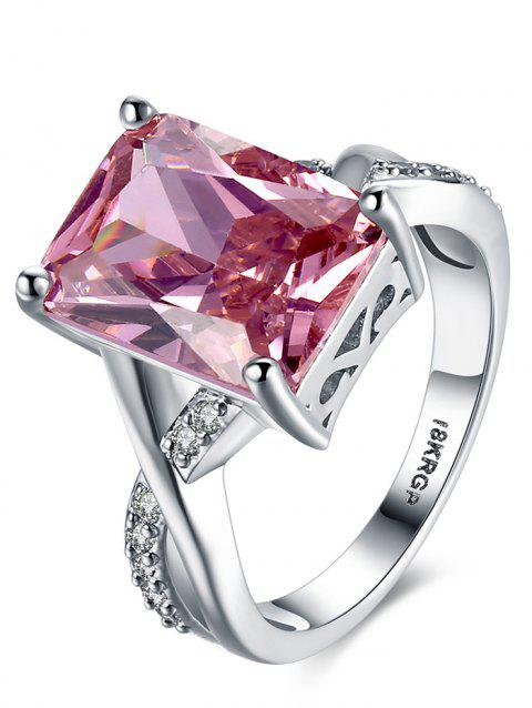 Artificial Crystal Rhinestone Finger Ring - HOT PINK 8