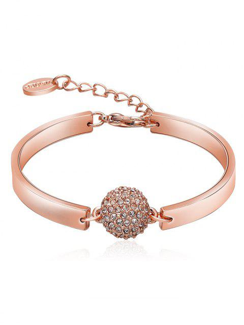 Bracelet Réglable en Alliage avec Boule en Strass - Or de Rose