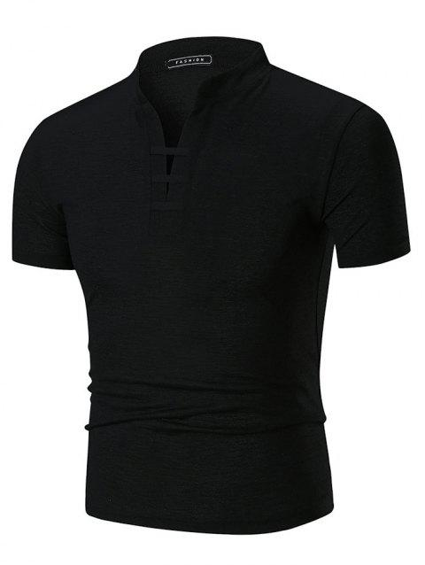 Notch Neck Stand Collar Solid Color T-shirt - BLACK 3XL
