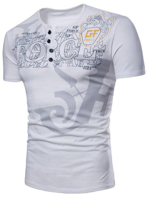 Casual Graphic Pattern Henley T-shirt - WHITE M