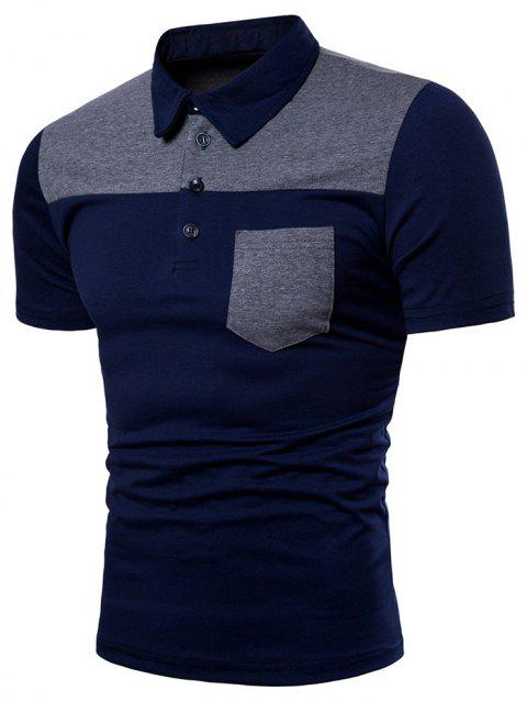 Pocket Design Color Block T-shirt - DEEP BLUE L
