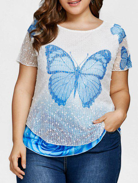 Butterfly Rose Plus Size Top - SKY BLUE 5X