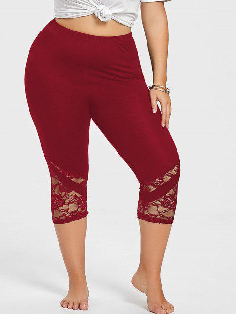 Lace Hem Plus Size Capri Skinny Pants - RED WINE 2XL