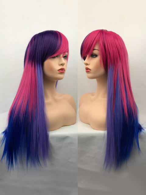 Long Side Bang Straight Colormix Synthetic Cosplay Wig - multicolor