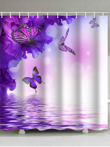 Flowers And Flying Butterflies On The Water Printed Bath Decor Shower Curtain