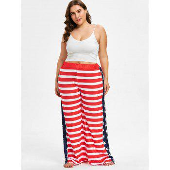 Plus Size US Flag Wide Leg Pants - RED 1X