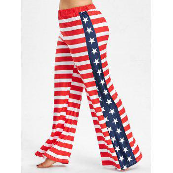 Plus Size US Flag Wide Leg Pants - RED 2X