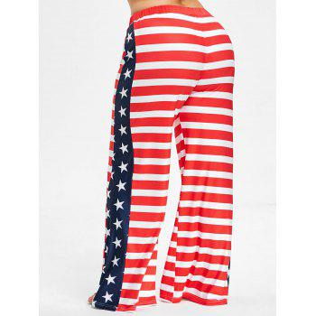 Plus Size US Flag Wide Leg Pants - RED 4X