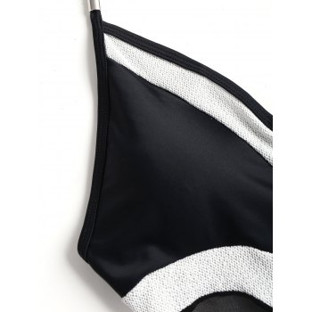 Hit Color One Piece Backless Swimwear - BLACK L