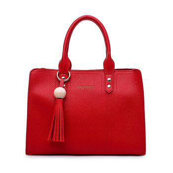 Casual Faux Leather 4 Pieces Handbag Set for Shopping - RED