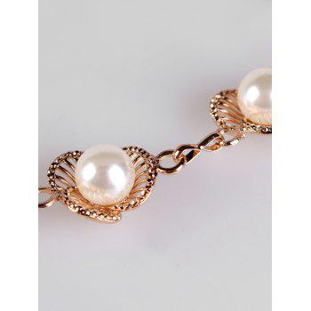 Faux Pearl Decorative Carving Metal Skinny Waist Belt - GOLD