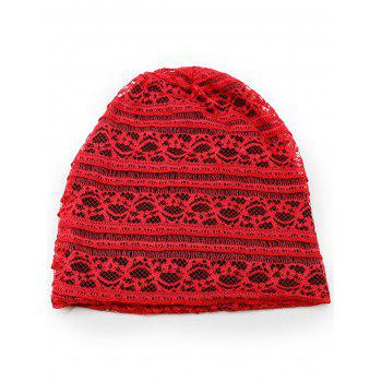 Outdoor Soft Lace Baggy Beanie - LOVE RED
