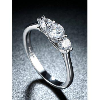 Simple Rhinestone Round Finger Ring - SILVER 9