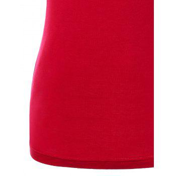 Open Back Shirred Tank Top - RED L