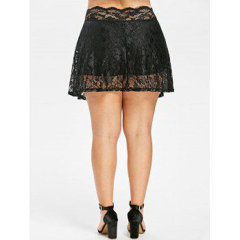Scalloped Edge Plus Size Lace Skirt Leggings - BLACK 1X
