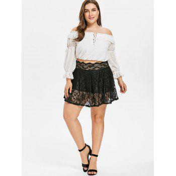 Scalloped Edge Plus Size Lace Skirt Leggings - BLACK 3X