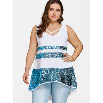 Plus Size High Low Sequins Swing Tank Top - WHITE 5X