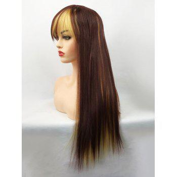 Long Side Bang Straight Colormix Party Synthetic Cosplay Wig - multicolor
