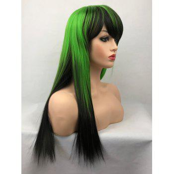 Long Side Bang Straight Colormix Cosplay Synthetic Wig - multicolor