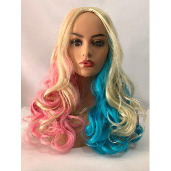 Long Center Parting Colormix Wavy Synthetic Party Cosplay Wig - multicolor