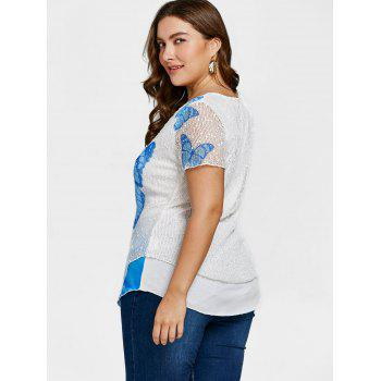 Butterfly Rose Plus Size Top - SKY BLUE 4X