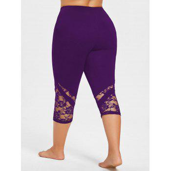 Lace Hem Plus Size Capri Skinny Pants - PURPLE XL