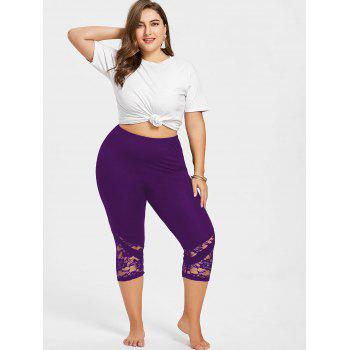 Lace Hem Plus Size Capri Skinny Pants - PURPLE 3XL