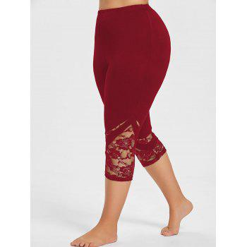 Lace Hem Plus Size Capri Skinny Pants - RED WINE 3XL