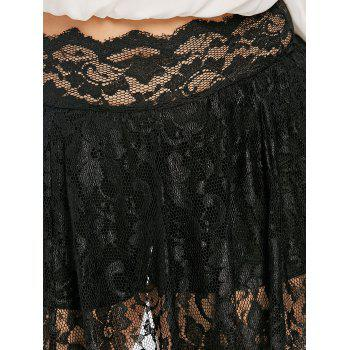 Scalloped Edge Plus Size Lace Skirt Leggings - BLACK 4X