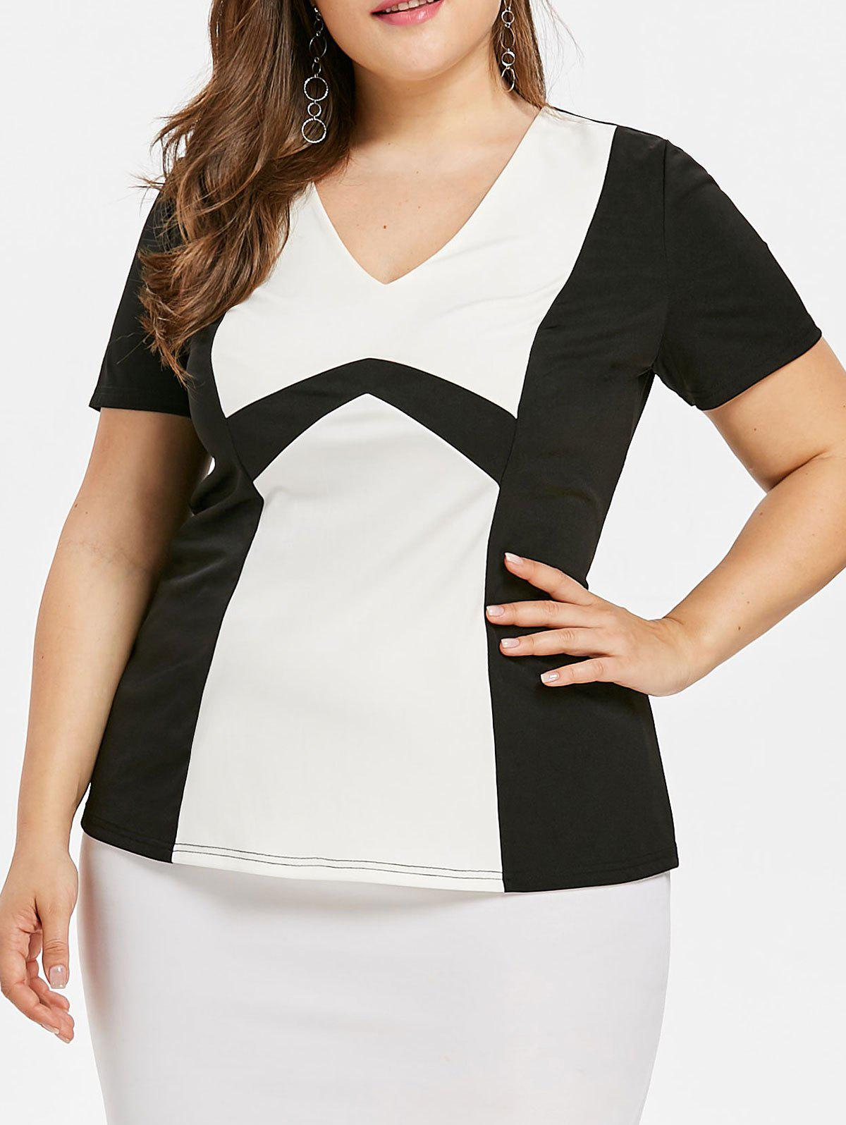 Two Tone Plus Size Empire Waist T-shirt plus size v neck two tone t shirt