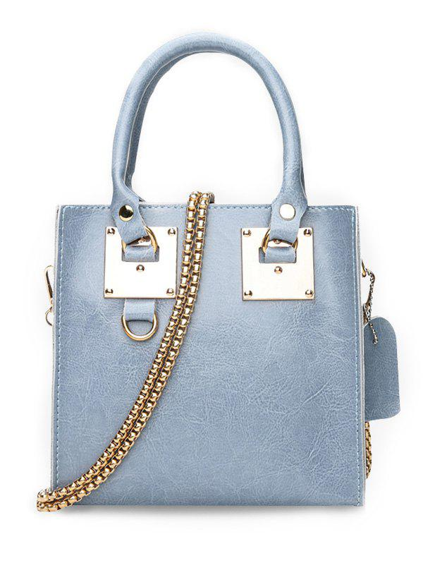 Minimalist PU Leather Crossbody Bag with Handle - BABY BLUE