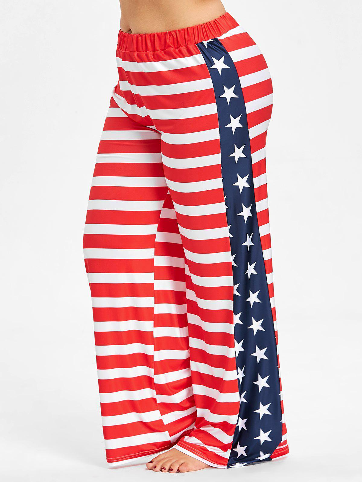 Plus Size US Flag Wide Leg Pants - RED 3X