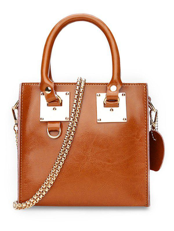 Minimalist PU Leather Crossbody Bag with Handle - BROWN