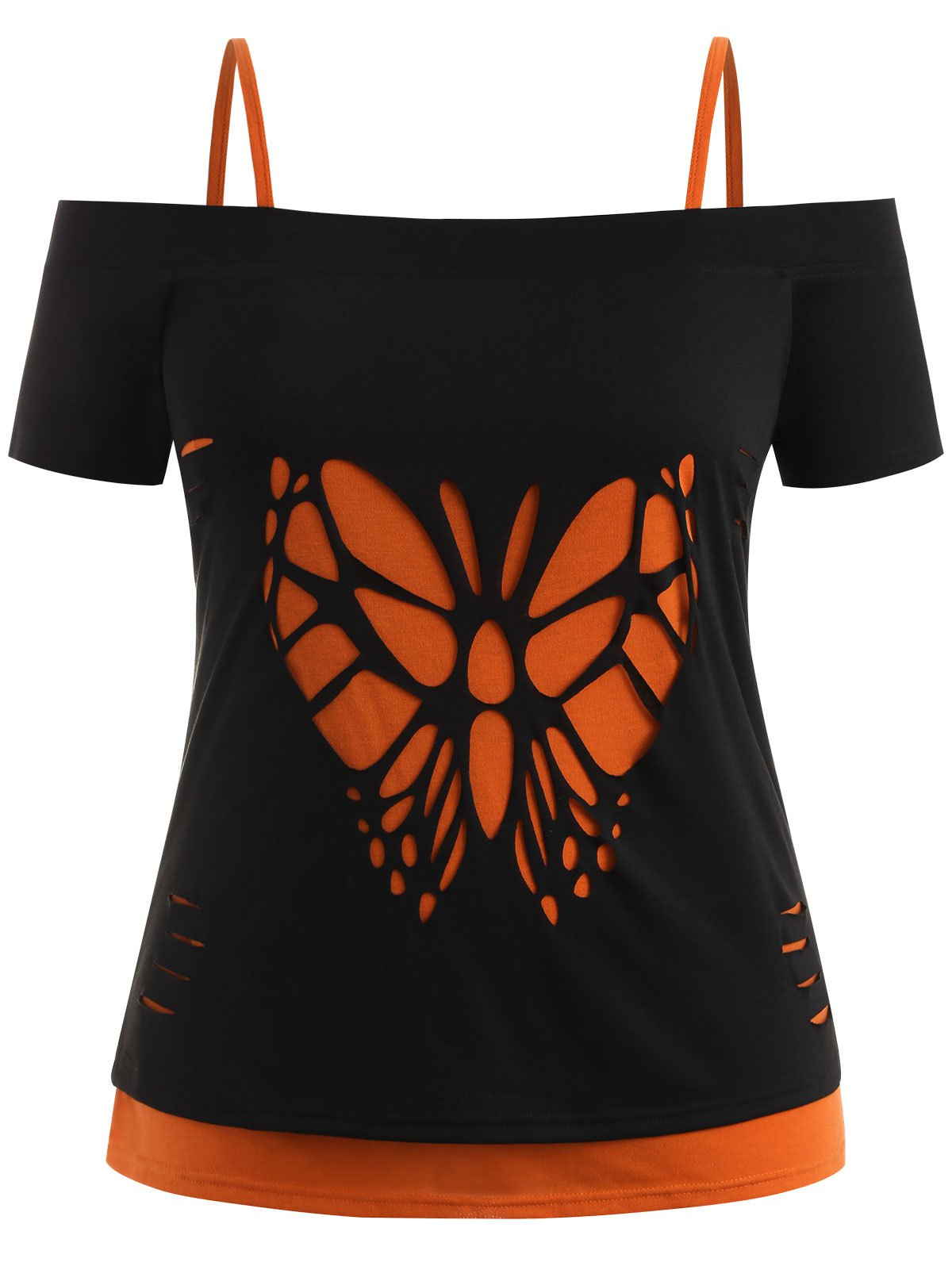 Plus Size Butterfly Ripped Tee with Camisole все цены
