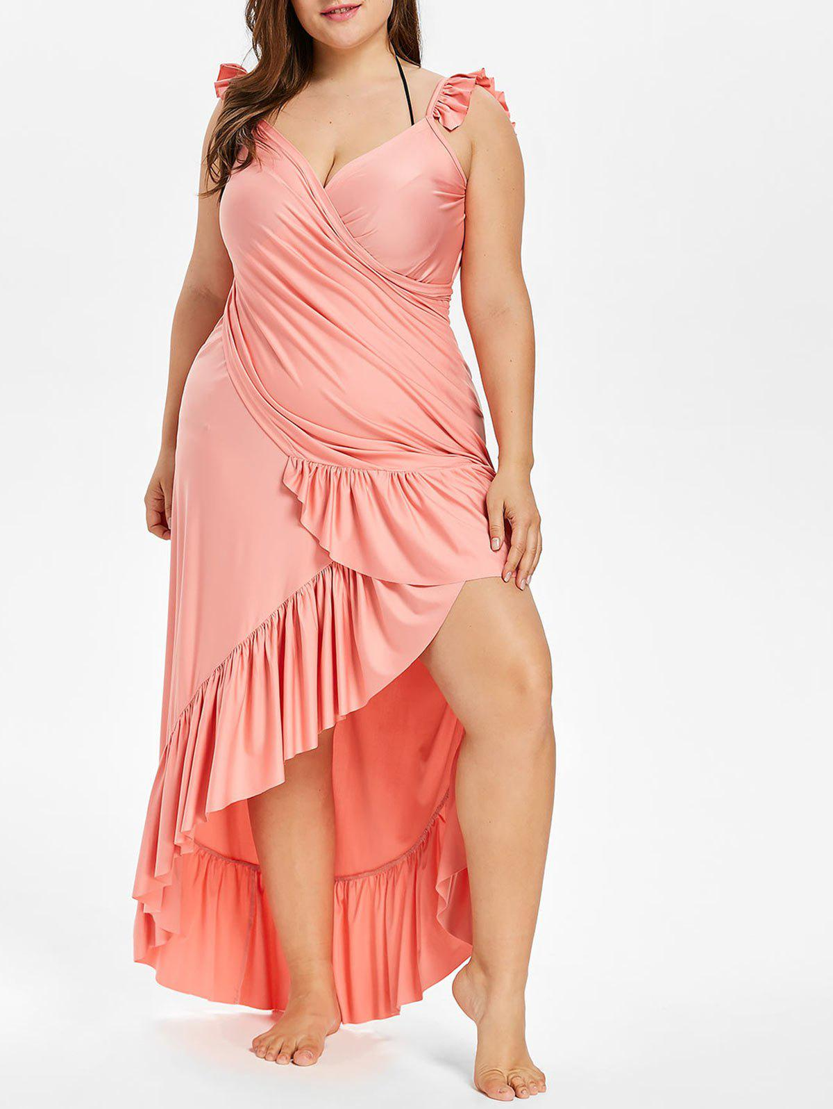 цены Maxi Plus Size Flounce Wrap Beach Dress