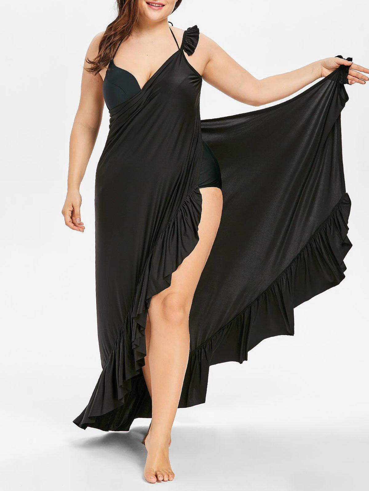 Maxi Plus Size Flounce Wrap Beach Dress - BLACK 1X