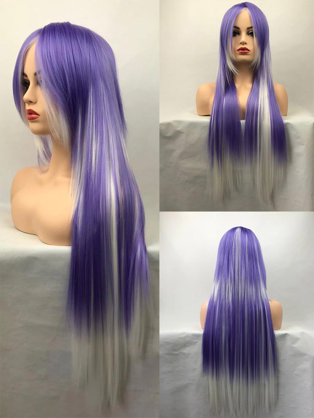 Long Inclined Bang Straight Colormix Cosplay Synthetic Wig - multicolor