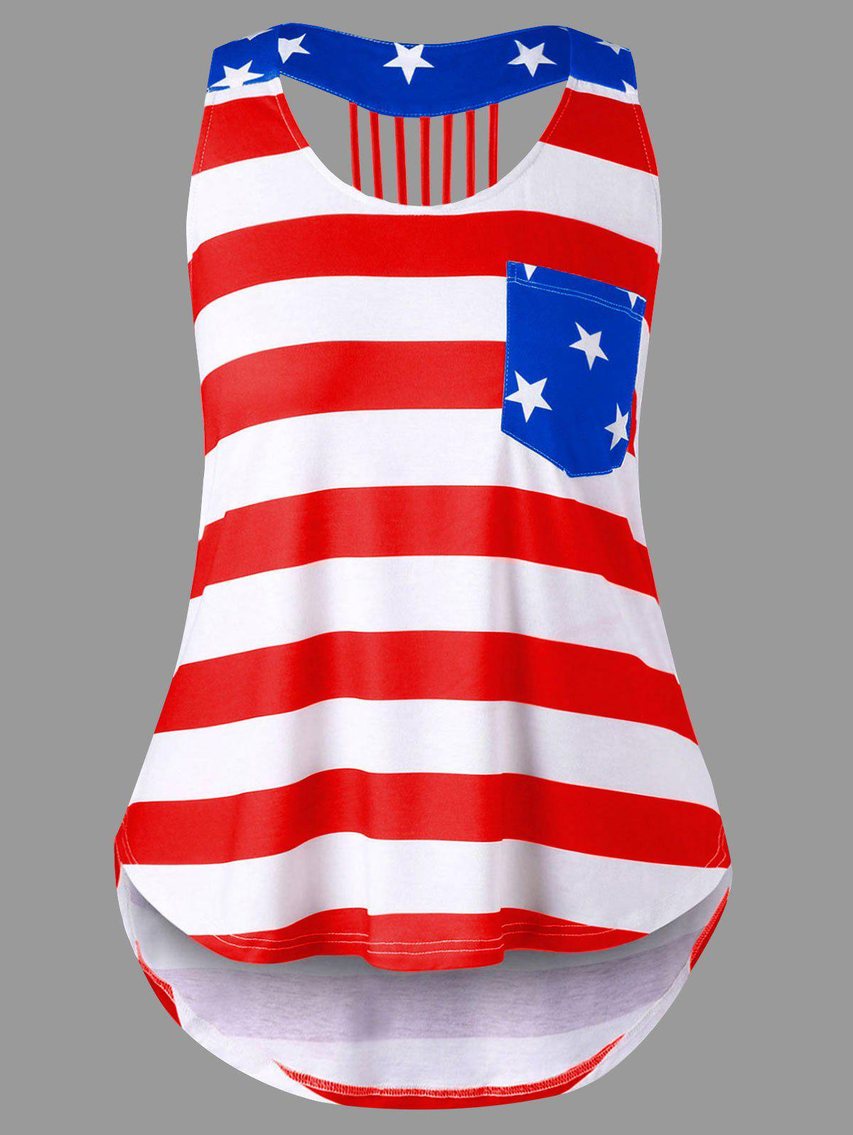 Plus Size American Flag Strappy Tank Top american flag print strappy tank top