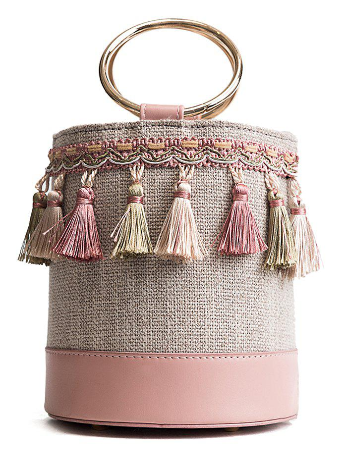 Bohemia Tassel Decor Patchwork Bucket Bag with Metal Handle - PINK