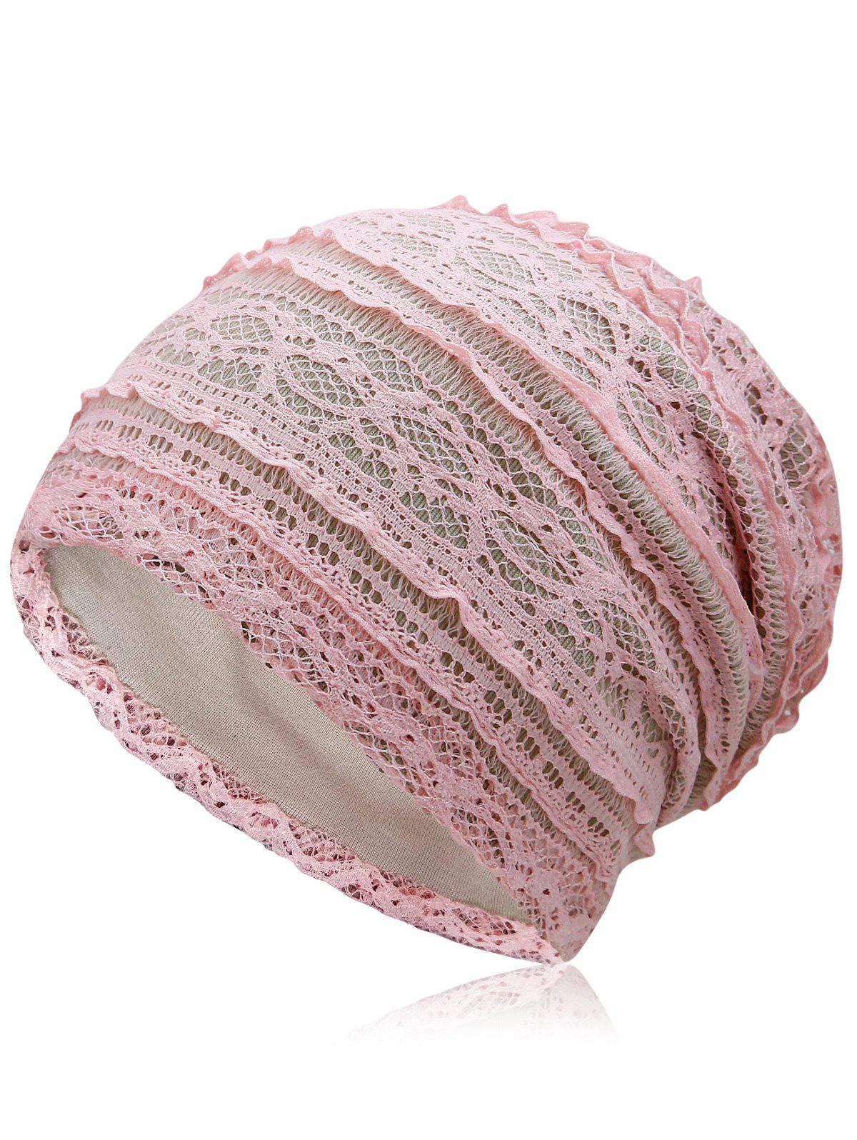 Outdoor Soft Lace Baggy Beanie - LIGHT PINK