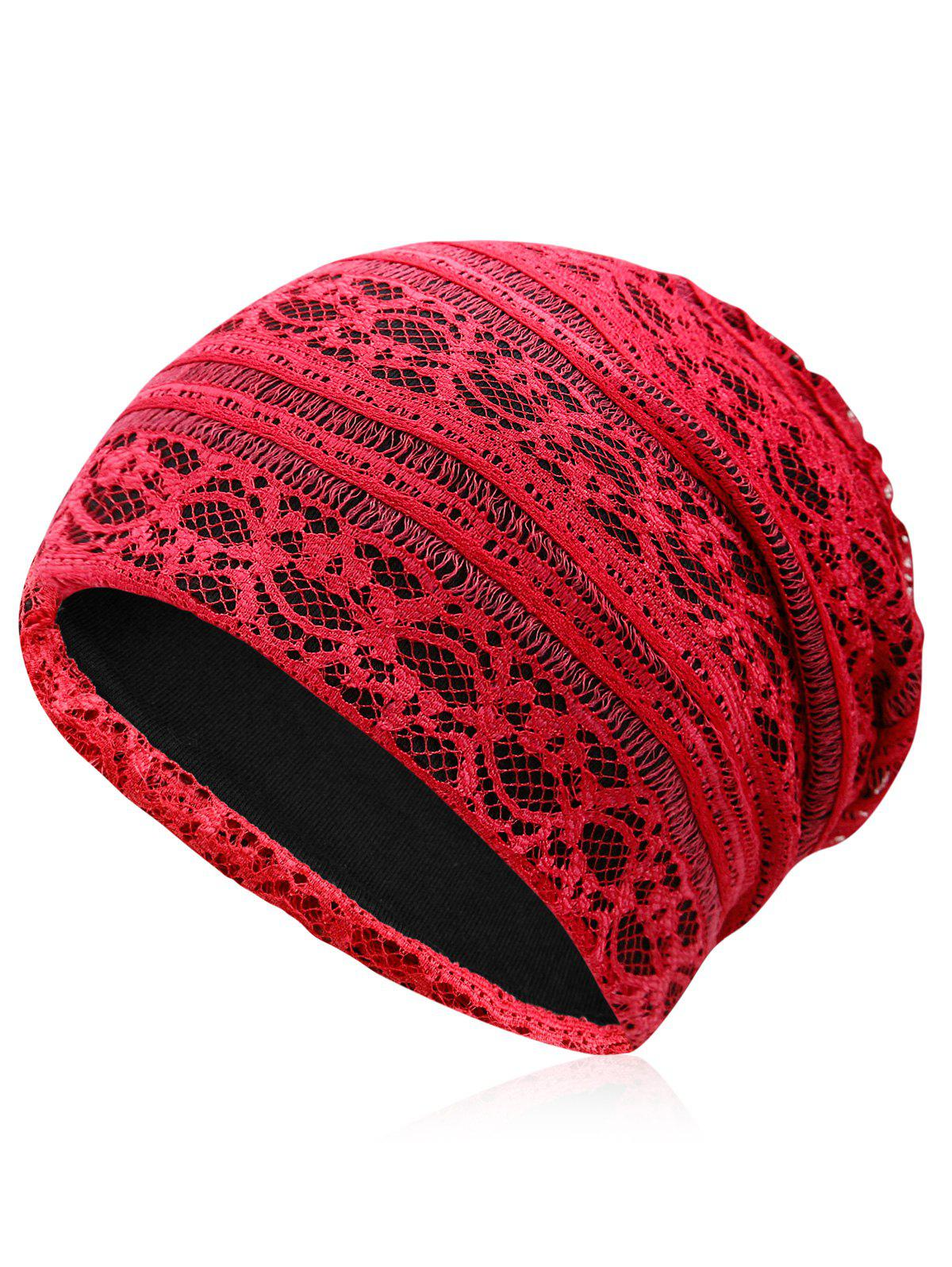 Outdoor Soft Lace Baggy Beanie vintage blooming flowers lace baggy beanie