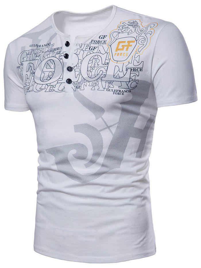 Casual Graphic Pattern Henley T-shirt - WHITE S