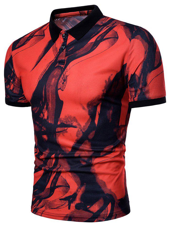 Casual Ink Painting Polo Shirt - RED WINE S